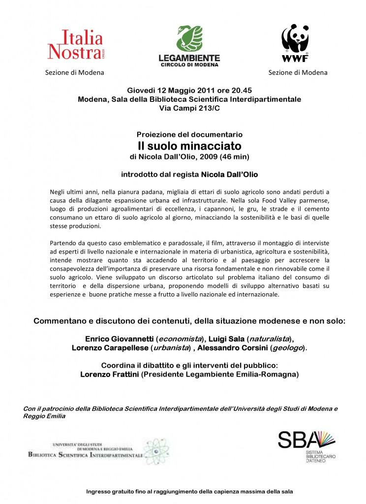 Il Suolo Minacciato: 12 Maggio a Modena